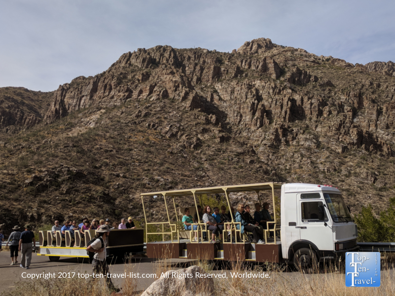 Tram tour at Sabino Canyon in Tucson AZ