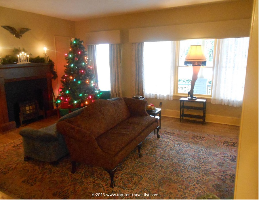 The leg lamp at A Christmas Story house in Cleveland, Ohio