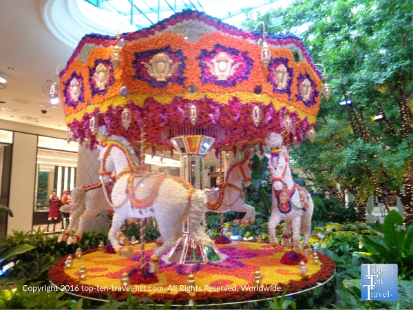 Carousel composed of flowers at The Wynn Gardens in Vegas