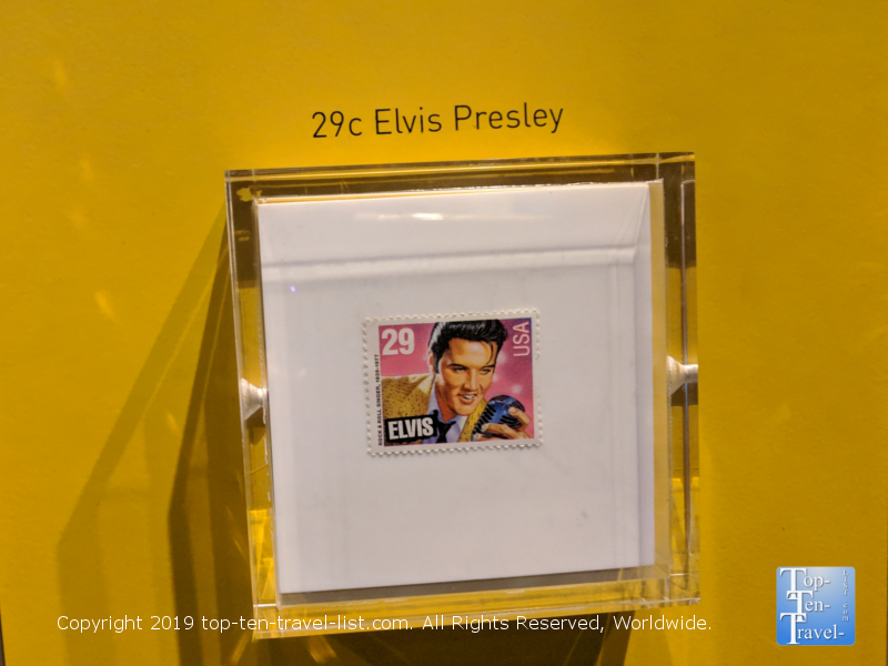The 1993 Elvis stamp at the National Postal Museum in DC