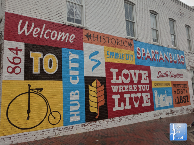 Colorful mural in downtown Spartanburg, South Carolina