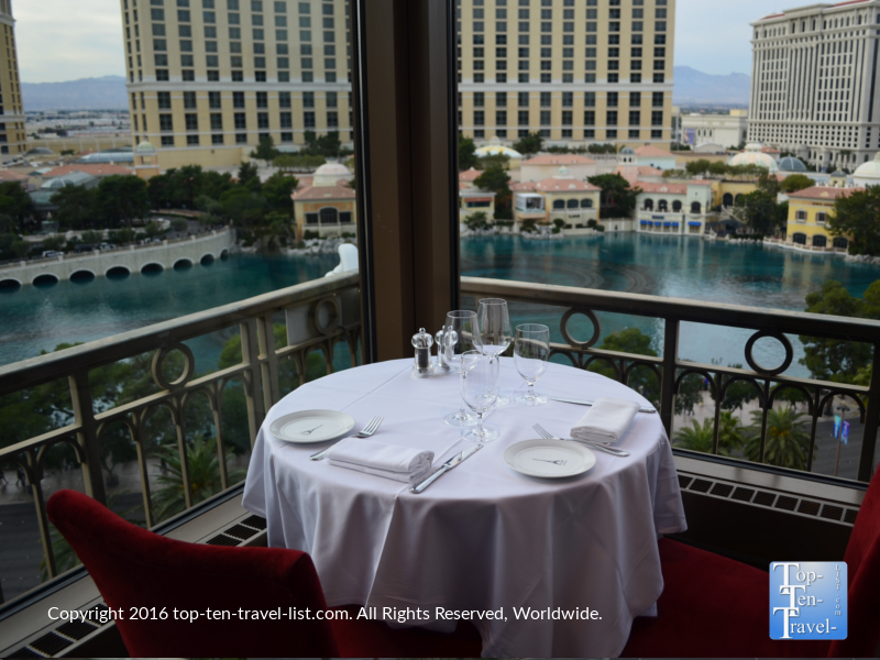 Scenic views from the Eiffel Tower restaurant in Vegas