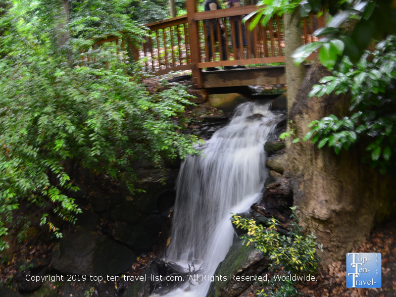 Waterfall at Hatcher Garden and Woodland Preserve in Spartanburg, South Carolina