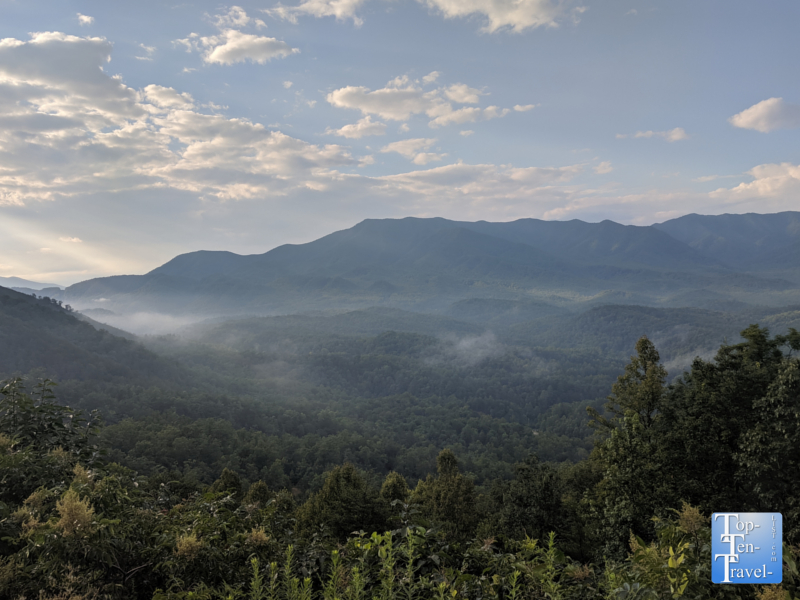 Beautiful overlook of the Smoky Mountains along the Foothills Parkway