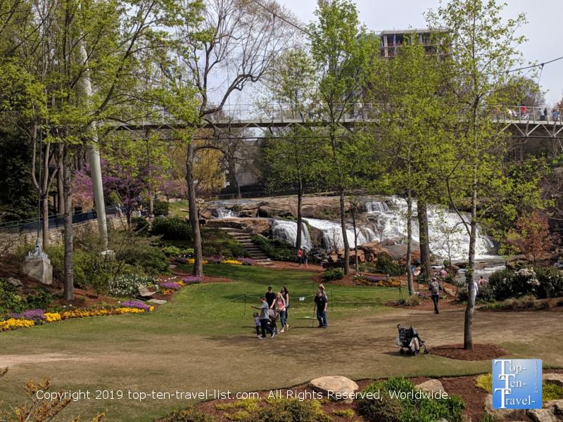 A beautiful spring day at Falls Park in Greenville, South Carolina