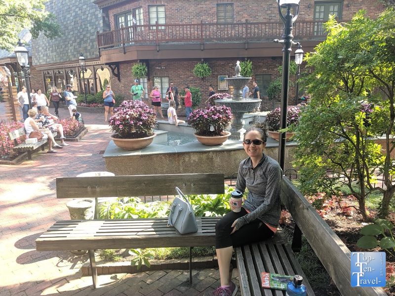 Enjoying a coffee at the Village shops in Gatlinburg,TN