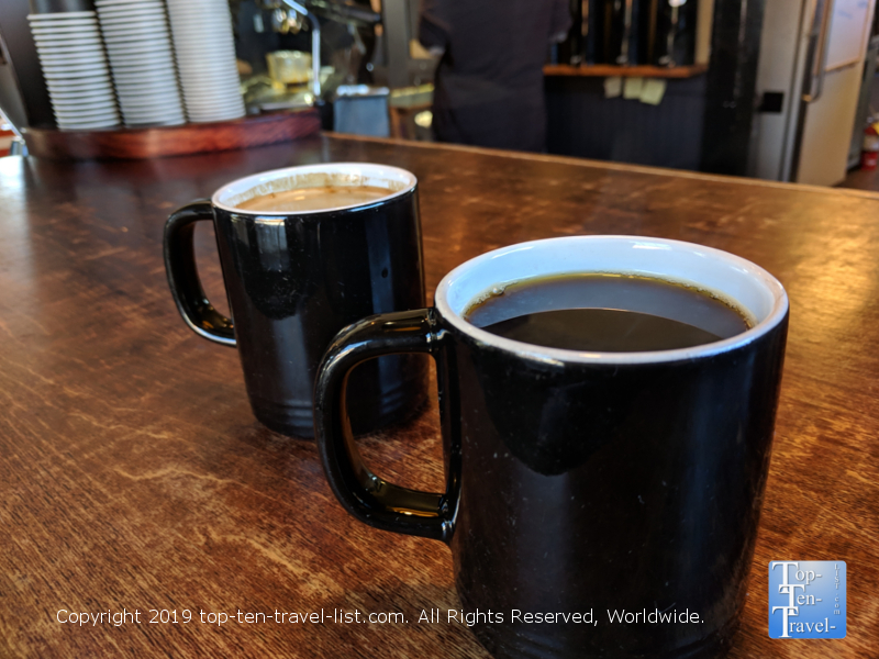 Excellent coffee at Izzy's Coffee Den in Asheville, North Carolina