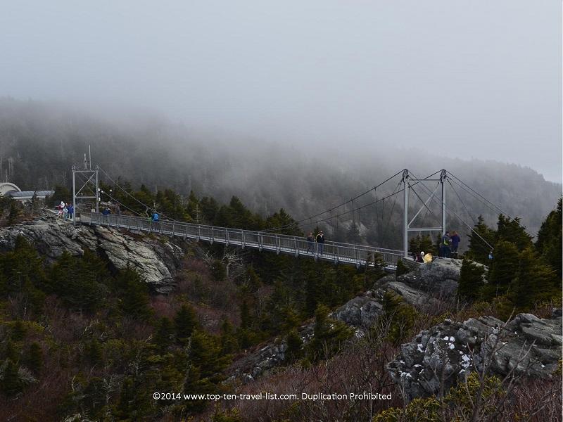 Mile high swinging bridge at Grandfather Mountain in North Carolina