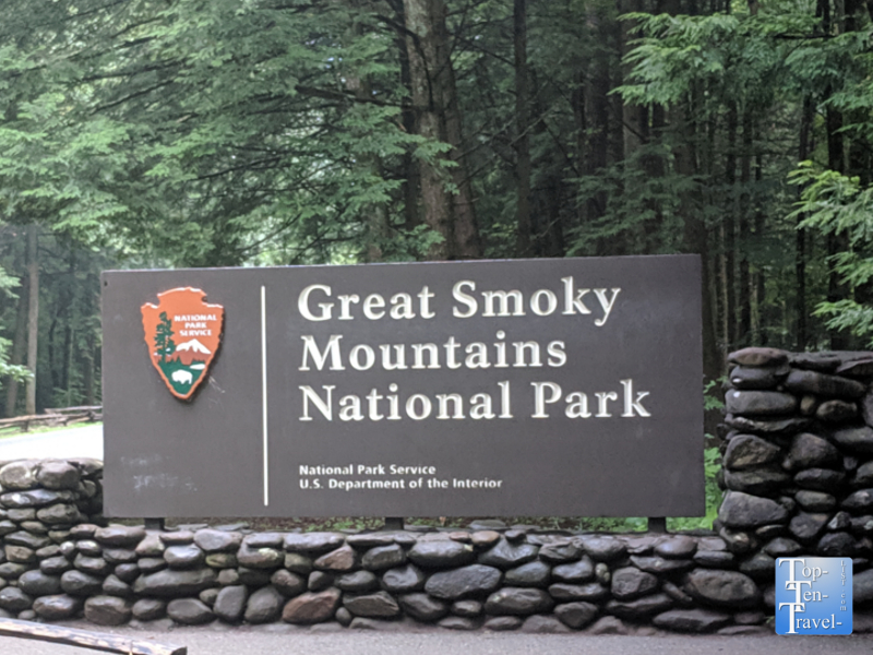 Great Smoky Mountains National Park sign in Gatlinburg, TN