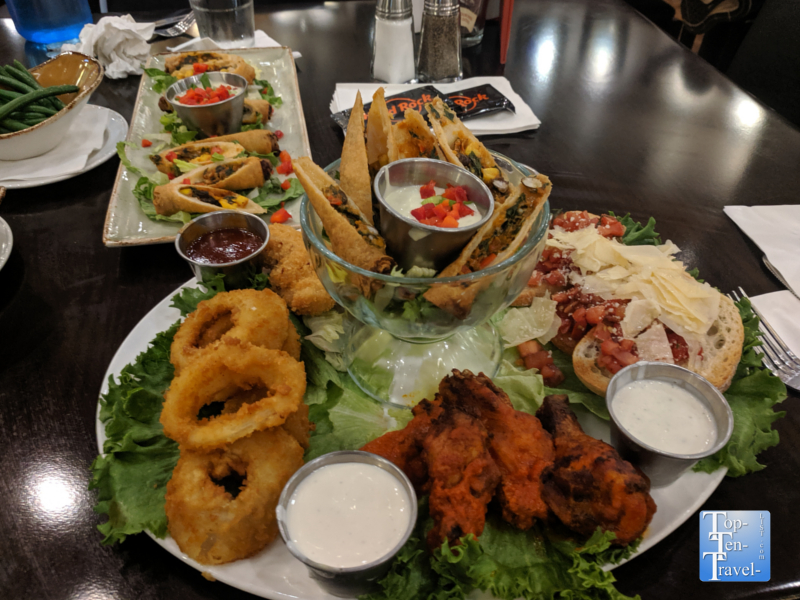 Jumbo appetizer platter at the Hard Rock Cafe