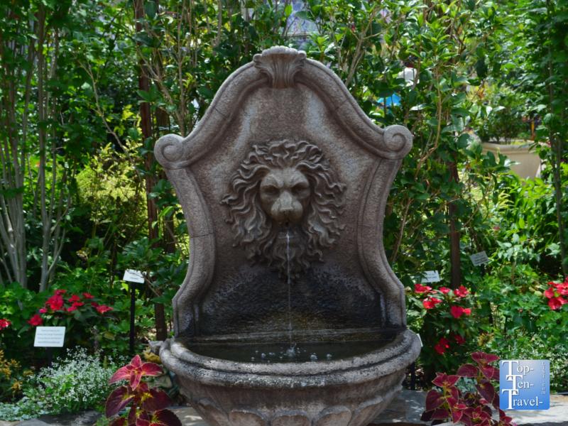 Lion fountain at the Lake Lure Flowering Bridge in North Carolina