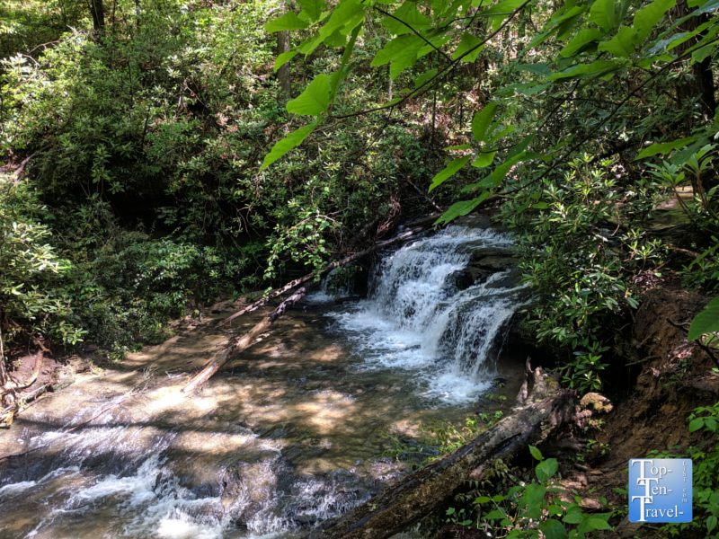 Waterfall along the Natural Bridge trail at Keowee-Toxaway State Park in Upstate SC