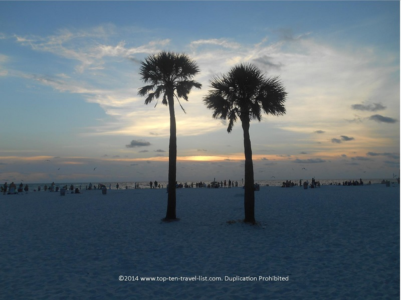 Beautiful sunset at Clearwater beach on Florida's Gulf Coast
