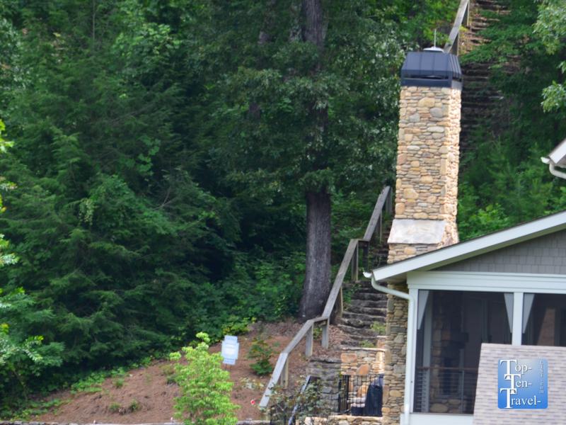 The Dirty Dancing stair dancing scene at Lake Lure in North Carolina