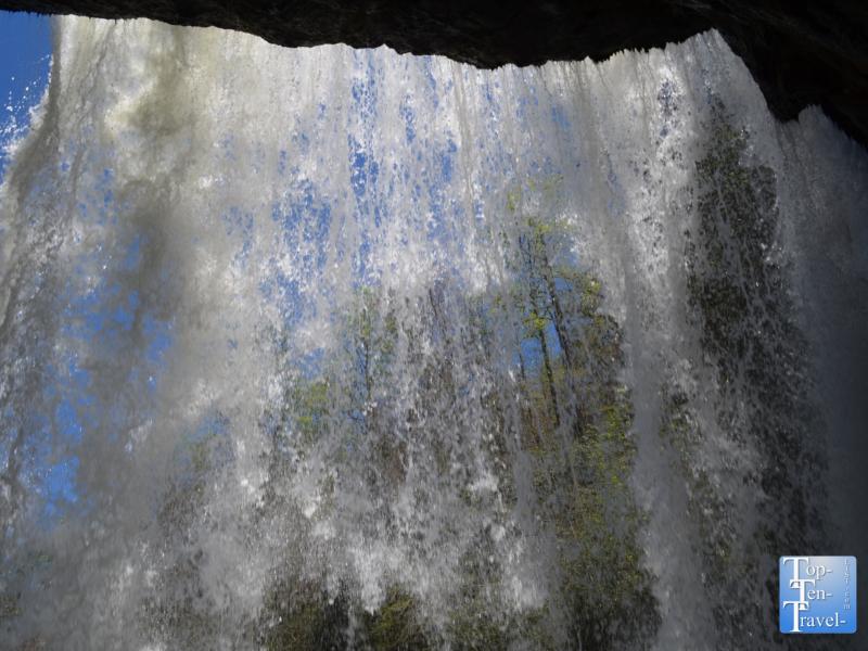 Walking underneath Dry Falls in Western North Carolina