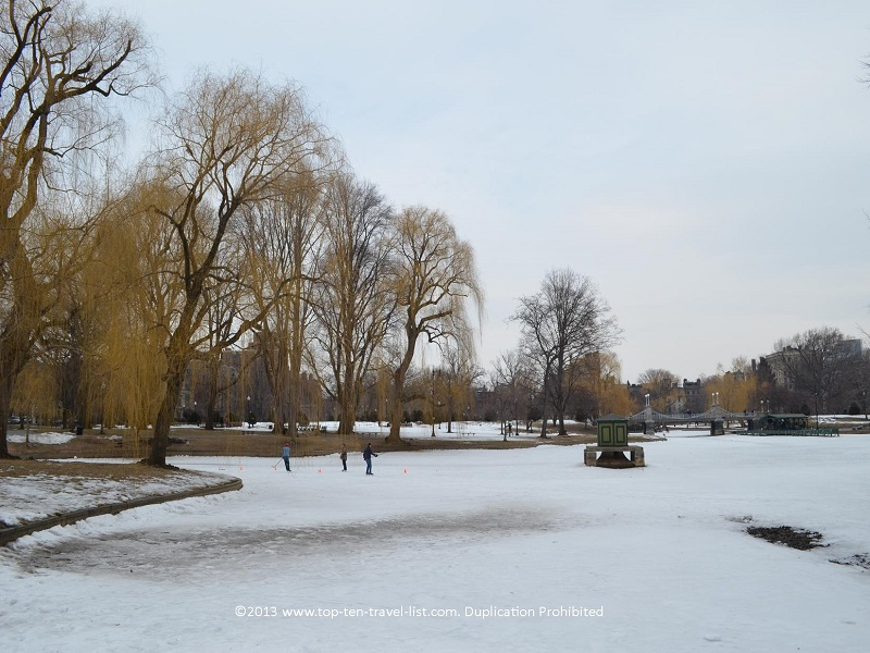 Winter scene at Boston Public Garden