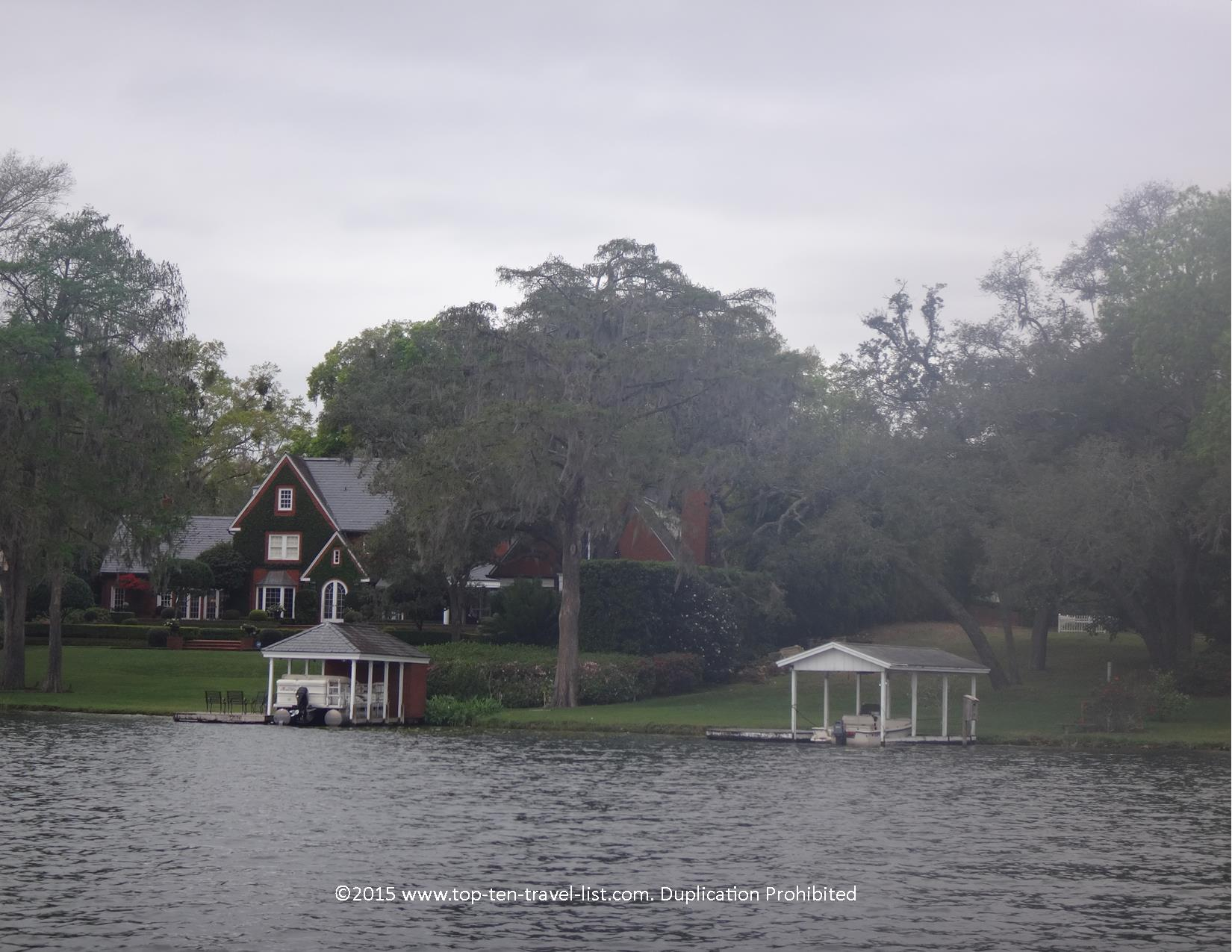 View of Mr. Rogers house from the Scenic boat tour in Winter Park, Florida