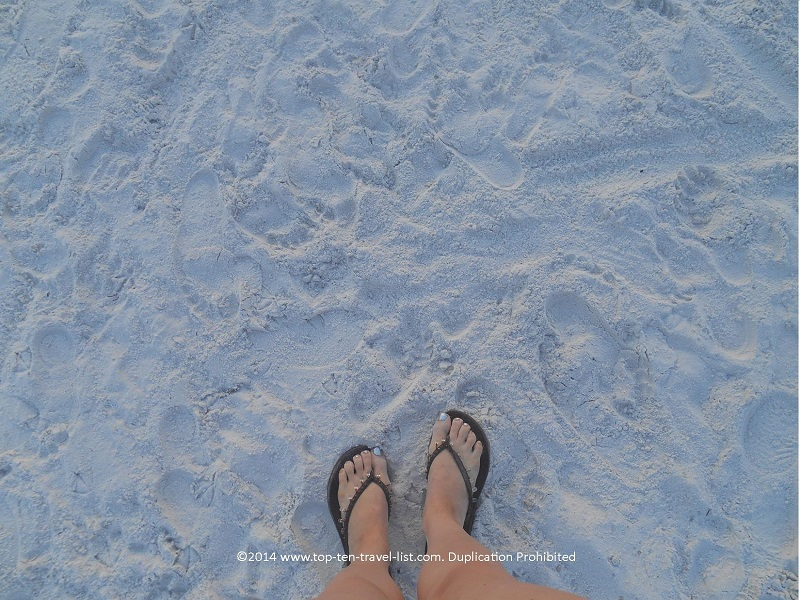 Smooth white sugar sand at Clearwater Beach in Florida
