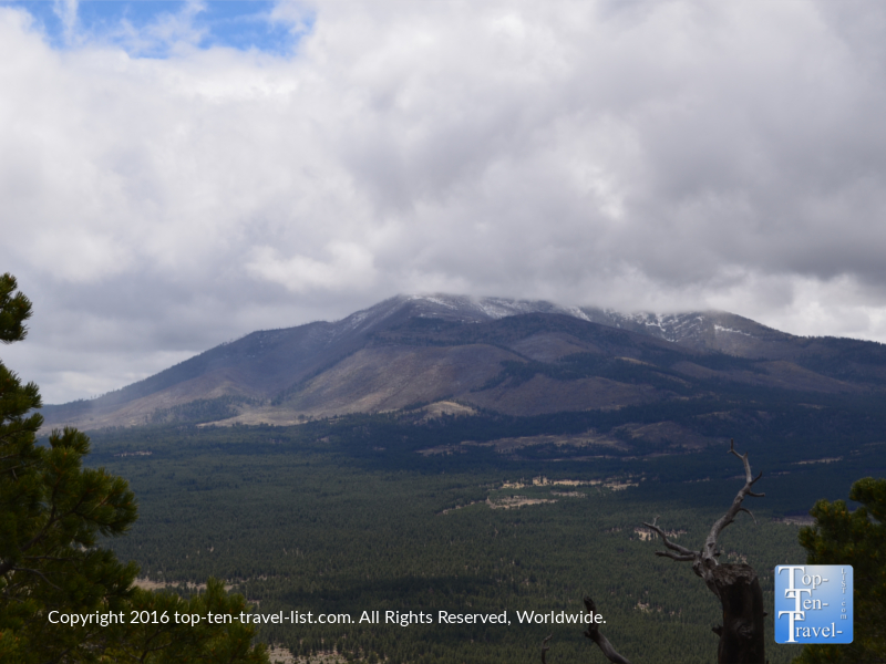 Grand views of the San Francisco Peaks via the Slate Mountain trail near Flagstaff, Arizona