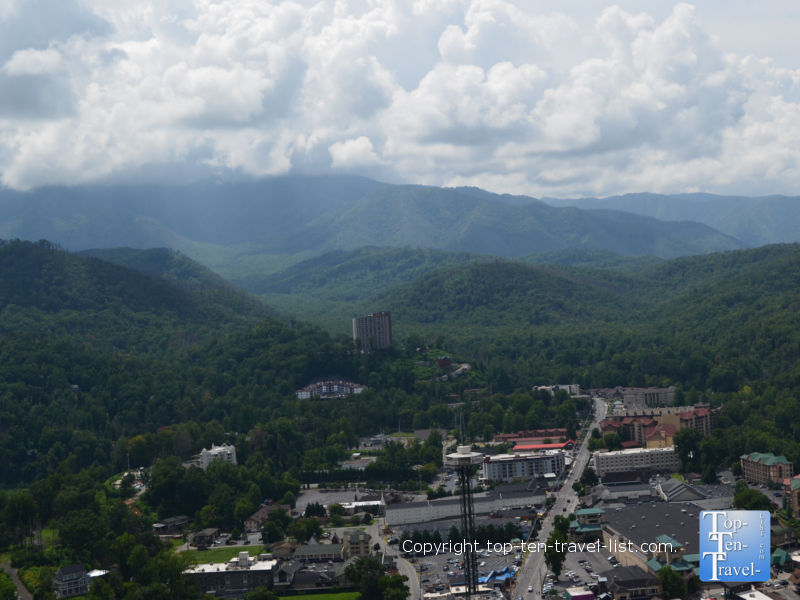 Views of the Smokies from SkyBridge - the country's longest pedestrian swinging bridge in Gatlinburg, TN