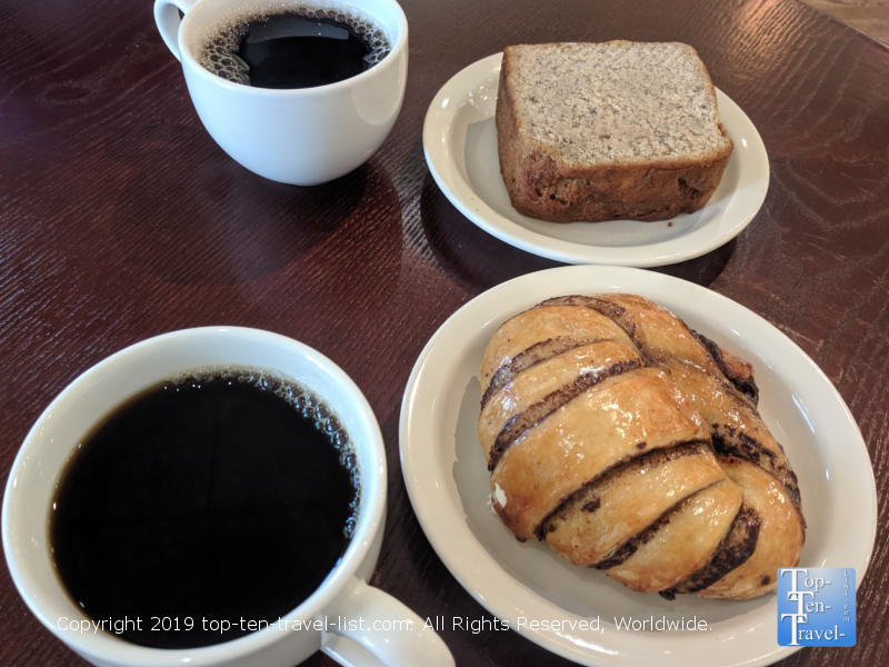 Chocolate croissant and banana bread at Old Europe in Greenville, South Carolina