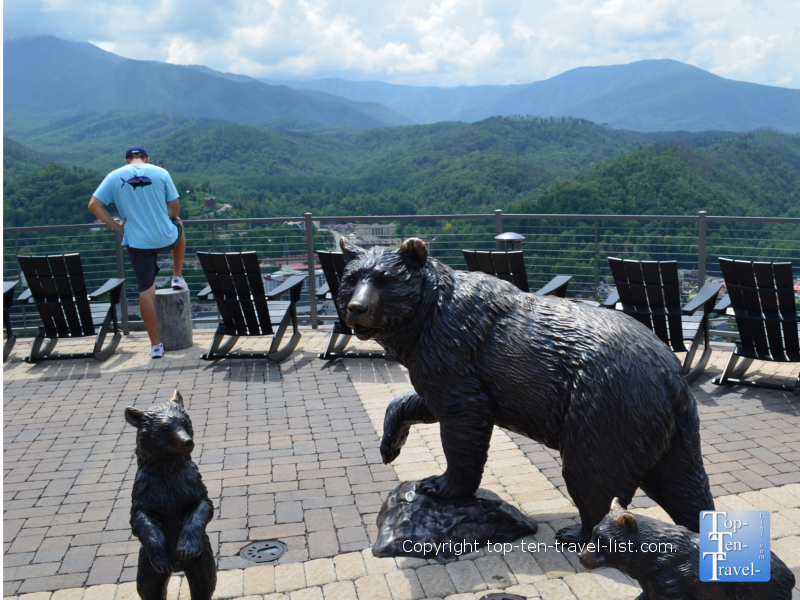 Cute black bear decor at SkyLift Park in Gatlinburg, TN
