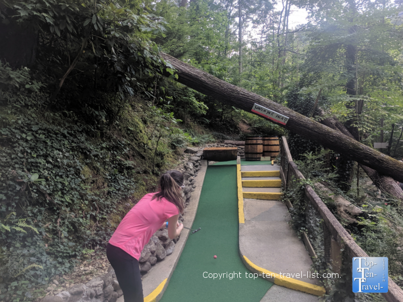 Golfing at Hillbilly Golf in Gatlinburg, TN