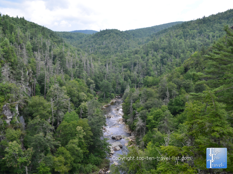 A scenic view of the Linville River from the Linville Falls trail along the Blue Ridge Parkway
