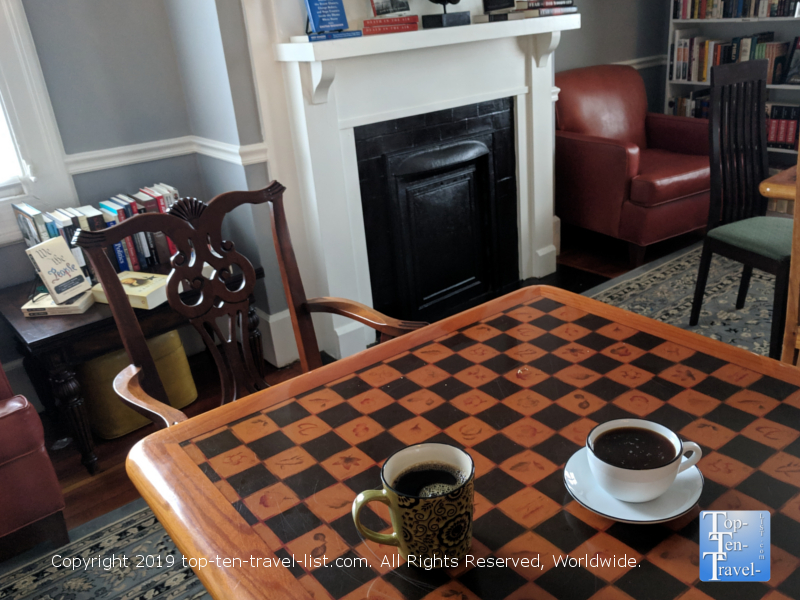 Coffee and books at Joe's Place in Greenville, South Carolina