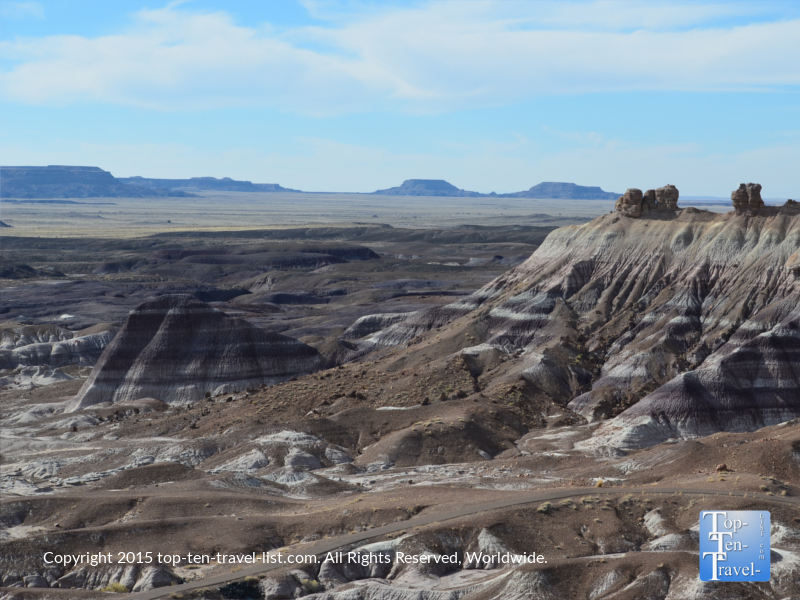 Scenic views of the Painted Desert from a trail at the Petrified National Forest
