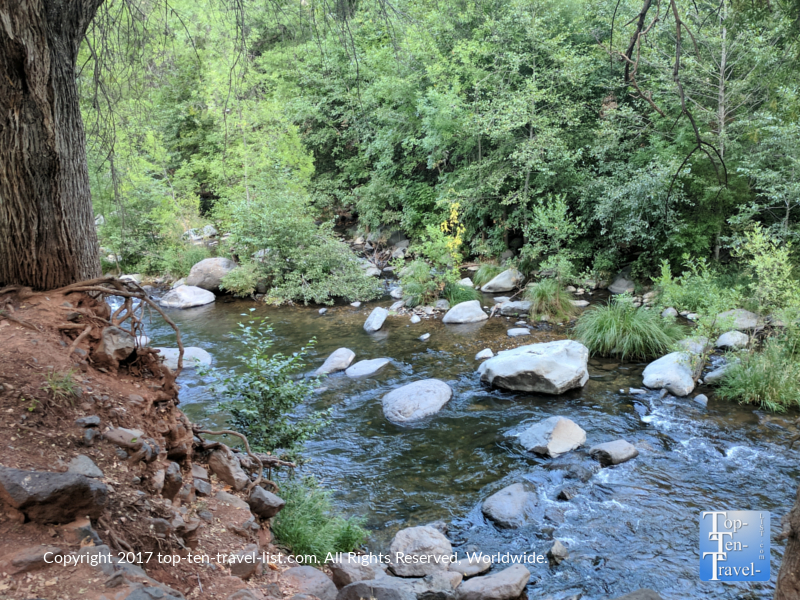 Serene creek views along Oak Creek Canyon in Sedona, Arizona