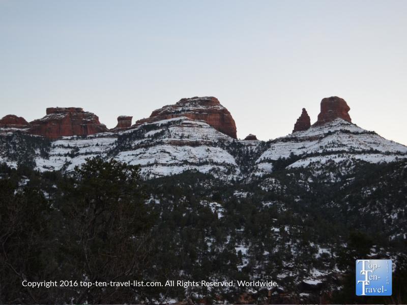 Snow dusting the red rocks in Sedona, Arizona