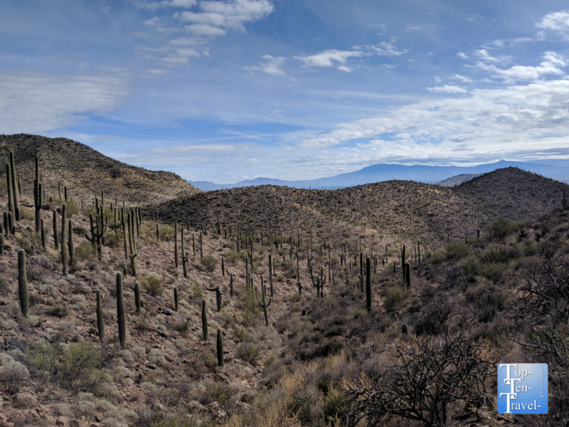 Beautiful mountain scenery along the Hidden Canyon trail in Tucson, Arizona