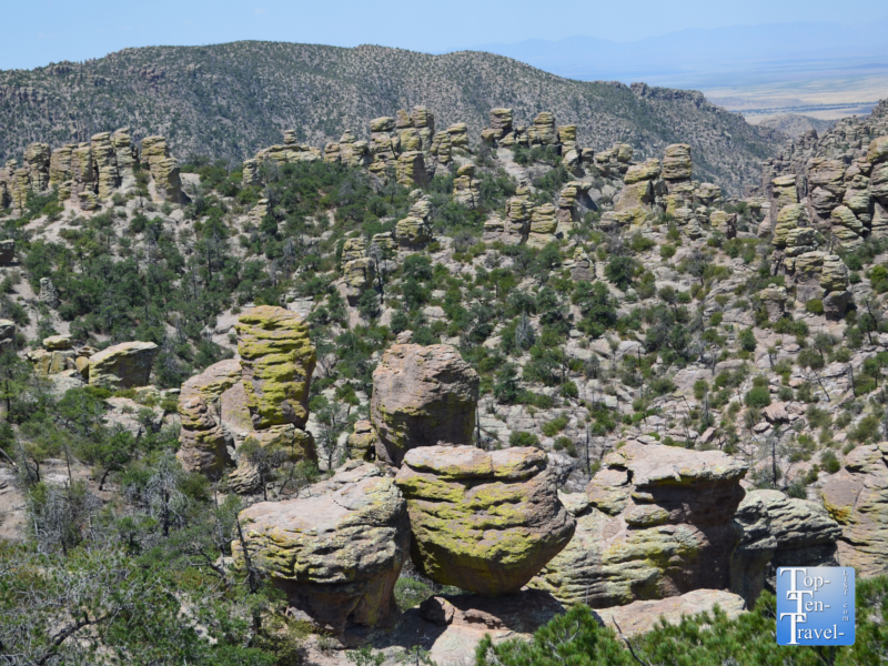 Views of the hoodoos and rock formations at Chiricahua National Monument in Arizona