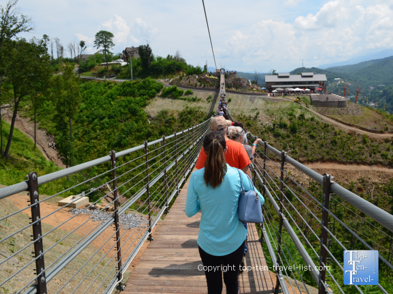 Walking across Sky Bridge in Gatlinburg, TN
