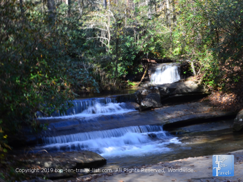 Small waterfall along the Carrick Creek Nature trail at Table Rock State Park in Upstate South Carolina