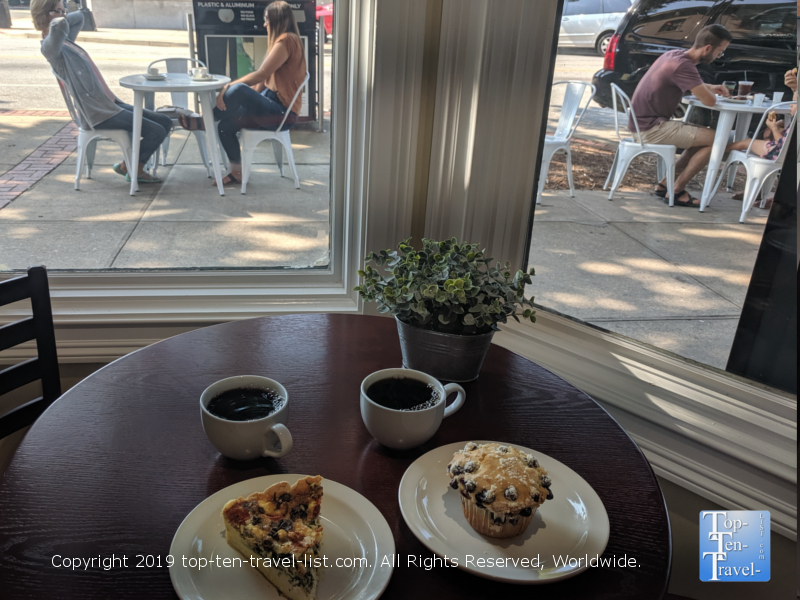 Quiche and blueberry muffin at Old Europe in Greenville, South Carolina