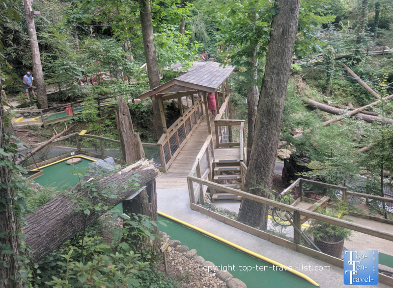 The woodsy Hillbilly mini golf course in Gatlinburg, TN