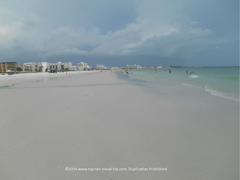 Fine white sand at Siesta Key beach in Sarasota, Florida
