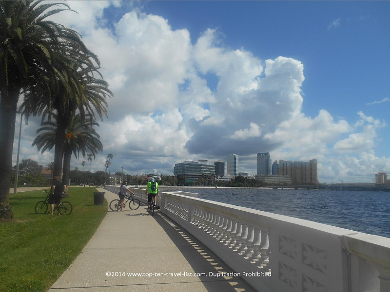 Views of the Tampa skyline via Bayshore Blvd.