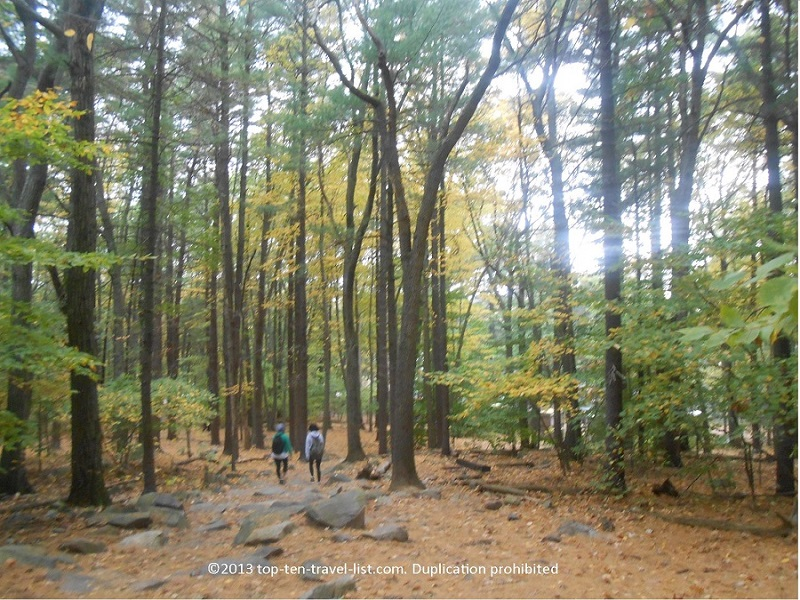 A beautiful fall color hike at Blue Hills Reservation near Boston, Massachusetts