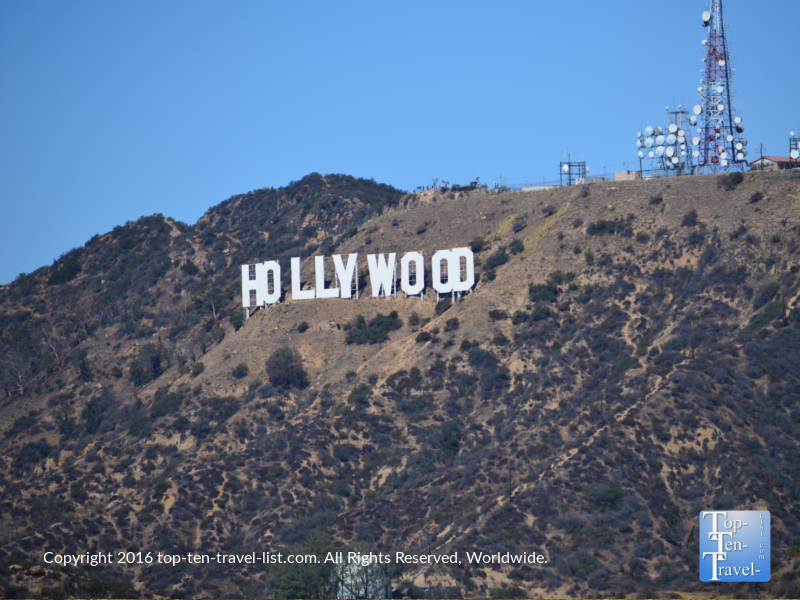 Best view of the Hollywood sign at the Griffith Observatory