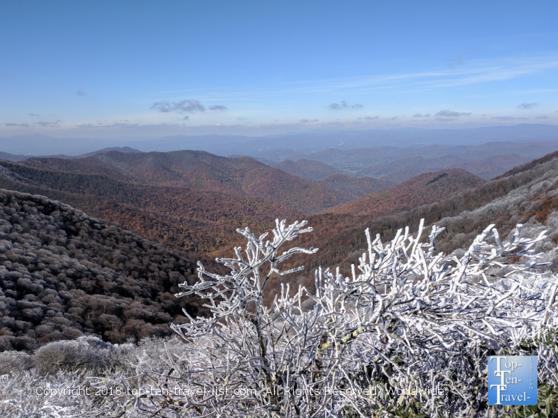 Icy views of the Blue Ridge mountains via the Craggy Gardens overlook