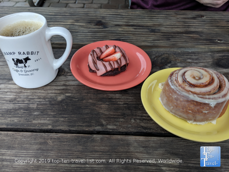 Vegan donut and cinnamon roll at Swamp Rabbit Cafe in Greenville, South Carolina