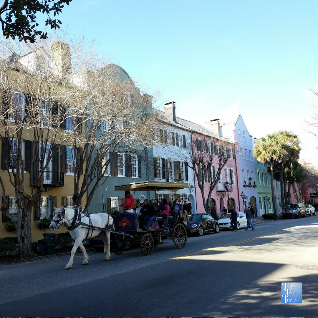 Beautiful Rainbow Row in Charleston, South Carolina
