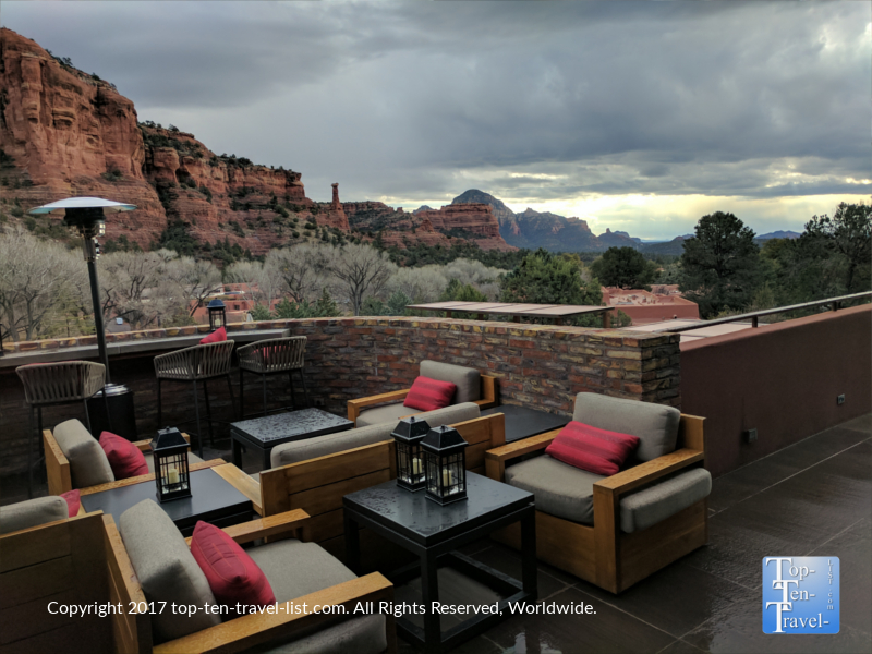 Gorgeous patio at Che-Ah-Chi restaurant at the Enchantment Resort in Sedona, Arizona
