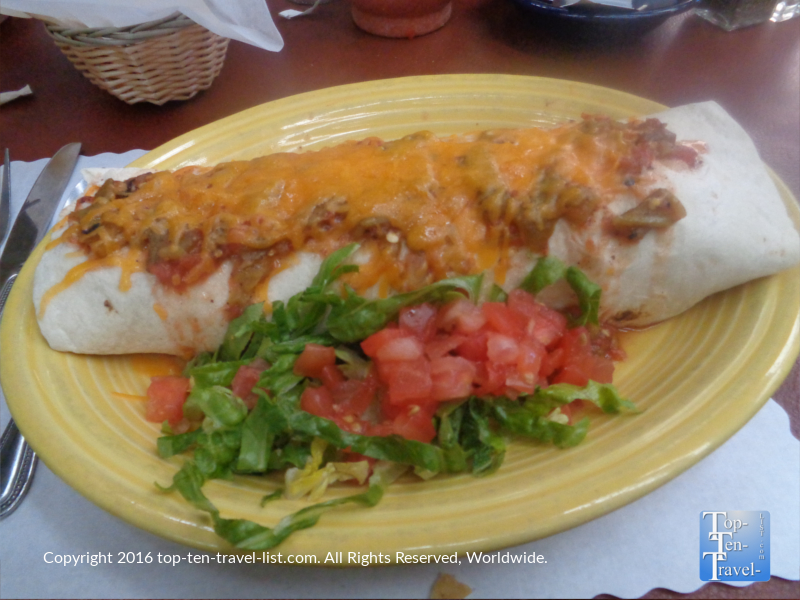 Amazing breakfast burrito New Mexican style at El Pinto in Albuquerque, New Mexico