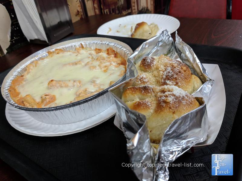 Baked ziti and garlic knots at Frankie's NY Pizza in Greenville, South Carolina