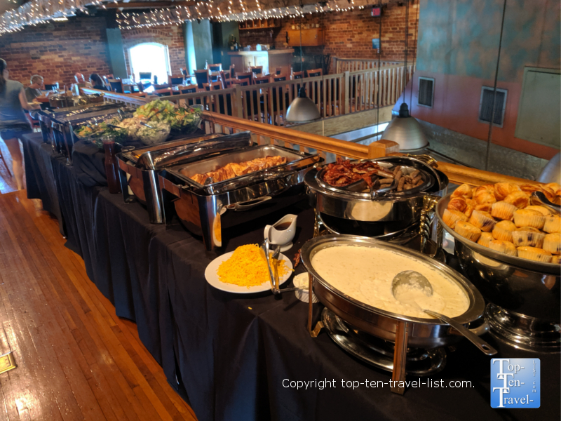 Sunday brunch spread at Soby's in Greenville, South Carolina