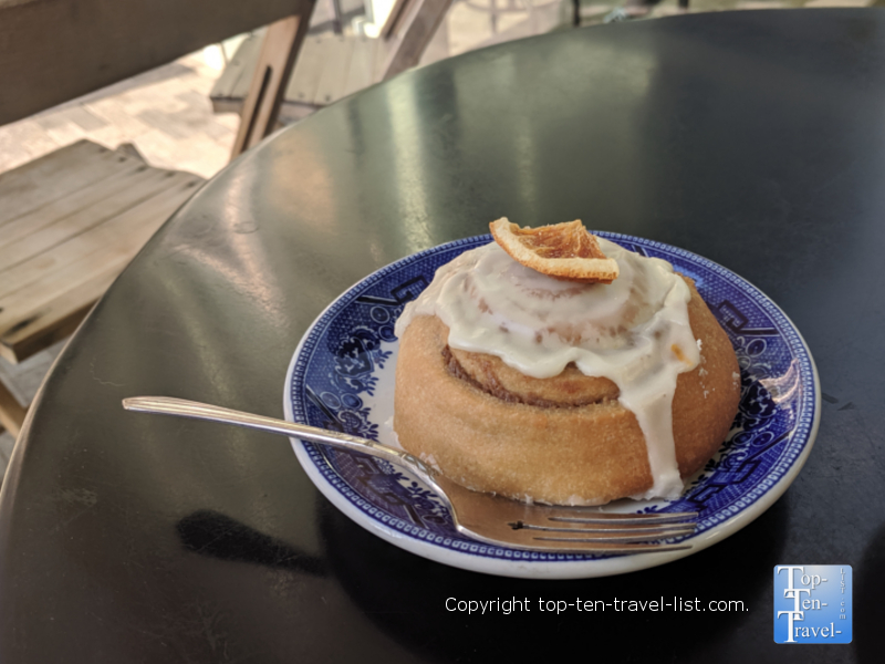 Cinnamon roll at Methodical Coffee in Greenville, South Carolina